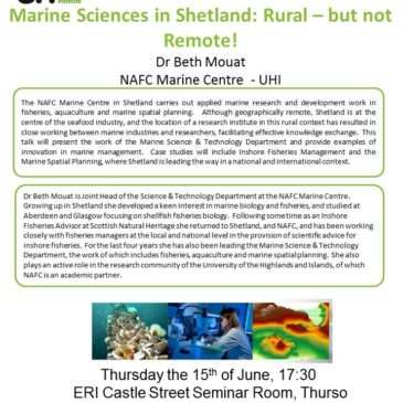ERI External Seminar – Marine Sciences in Shetland: Rural, but not Remote!